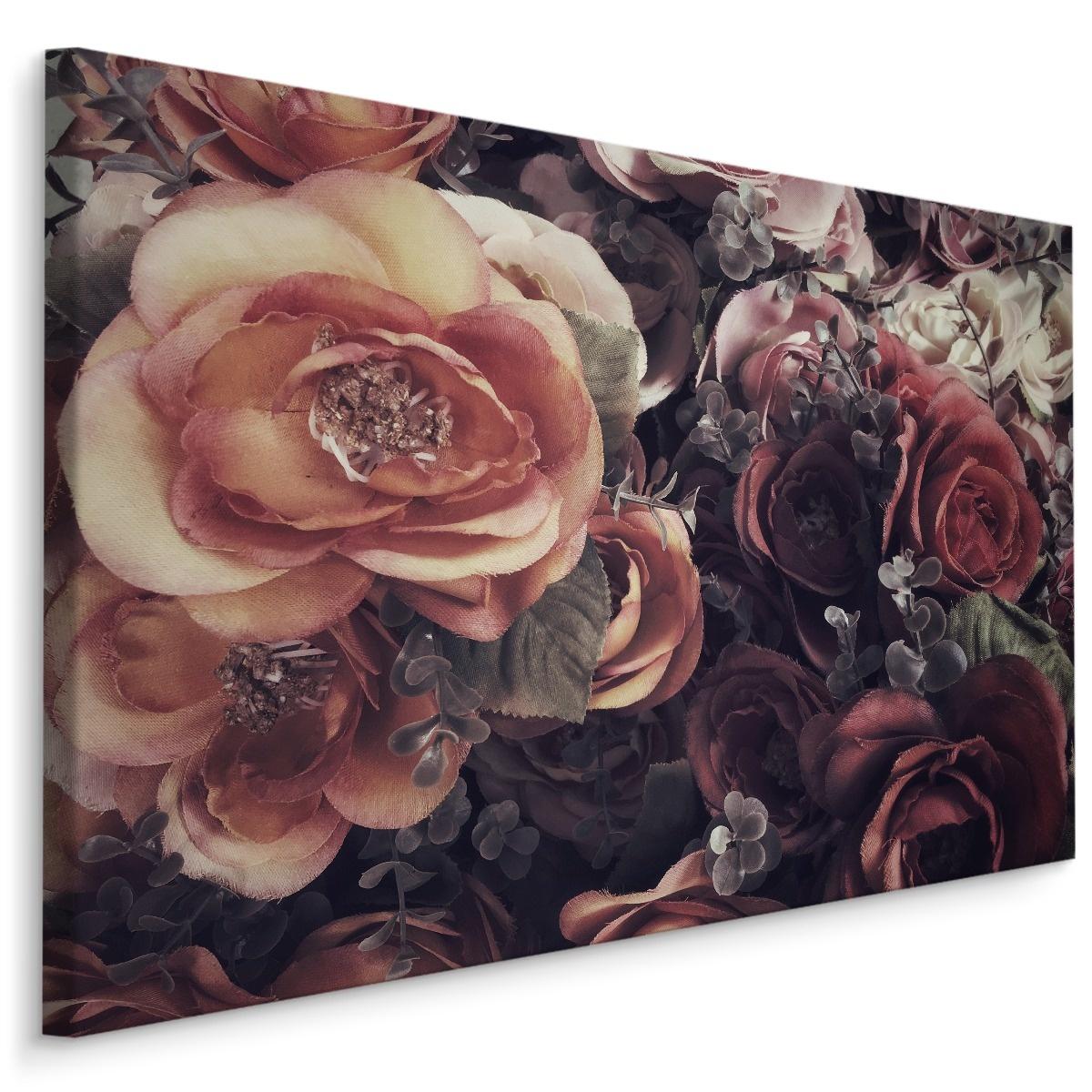 Schilderij - Vintage Rozen, multi-gekleurd, 4 maten, wanddecoratie