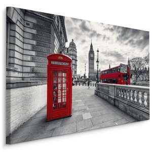 Schilderij - Rode telefooncel in Londen, zwart-wit/rood, 4 maten, premium print
