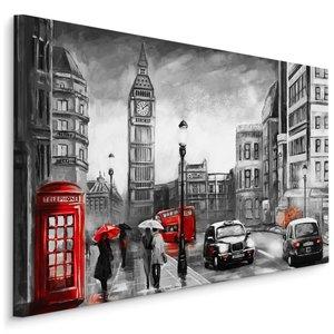 Schilderij - Regenachtige dag in Londen (print op canvas), zwart-wit/rood, 4 maten, premium print