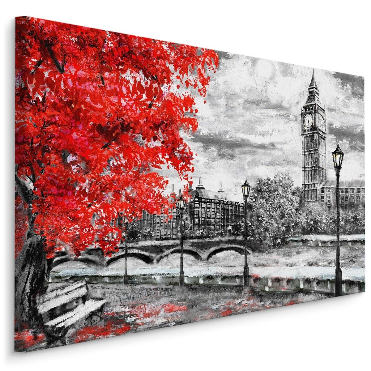Schilderij - Uitzicht op de Thames en Big Ben in Londen (print op canvas), zwart-wit/rood, 4 maten,
