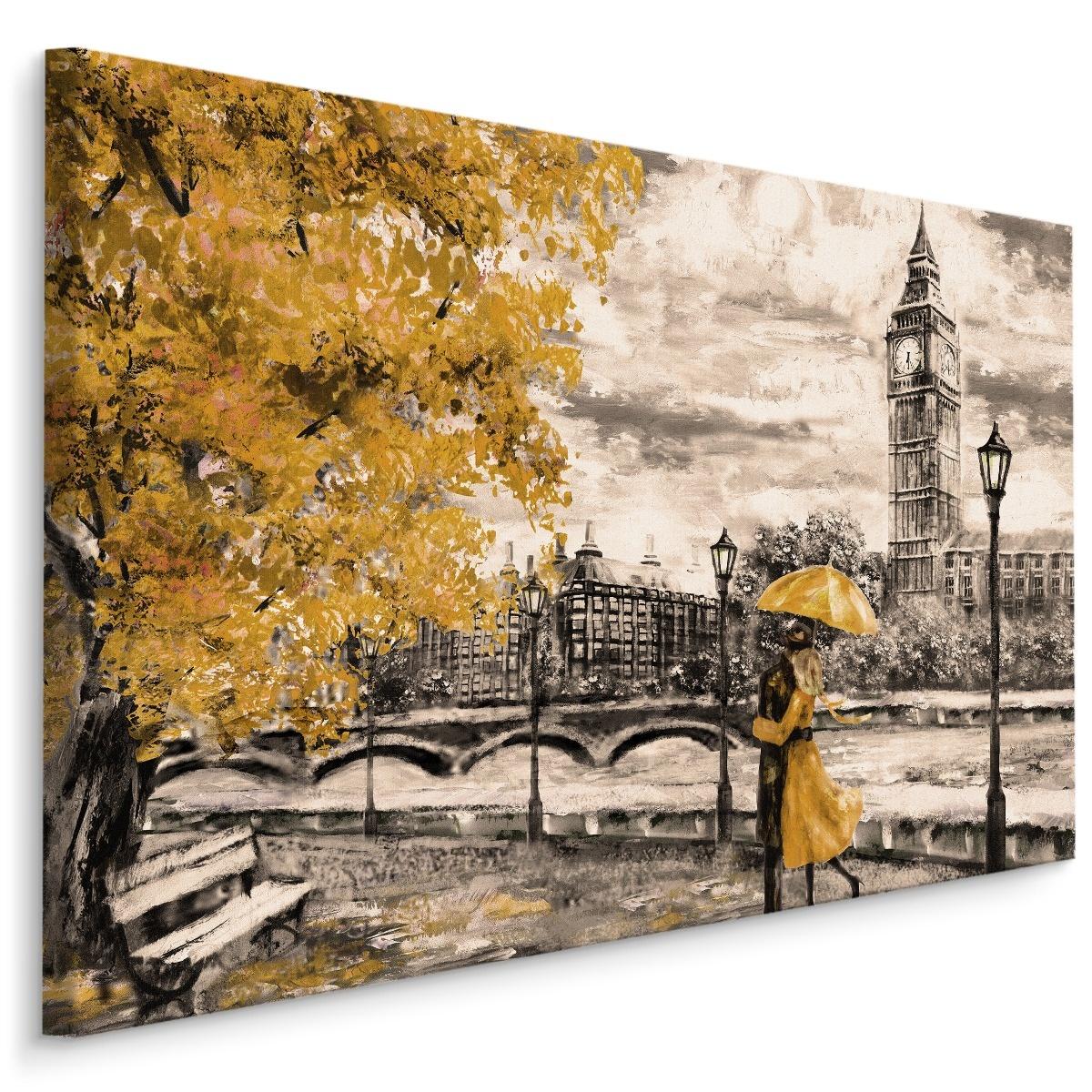 Schilderij - Geliefden in Londen (print op canvas), zwart-wit/geel, 4 maten, wanddecoratie