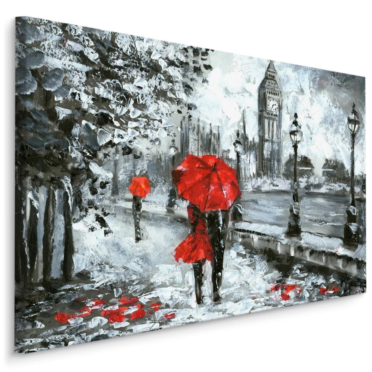 Schilderij - Regen in Londen (print op canvas), zwart-wit/rood, 4 maten, premium print
