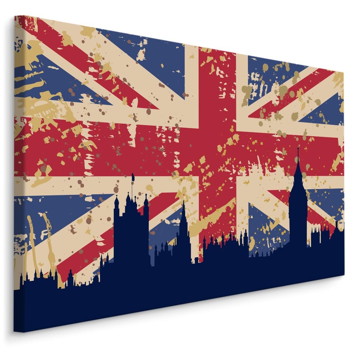 Schilderij - Vlag van Verenigd Koninkrijk en skyline van Londen, blauw/rood, 4 maten, premium print