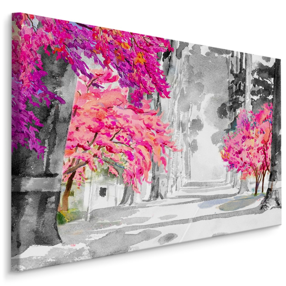 Schilderij Kersenbloesem in Aquarel (print op canvas), multi-gekleurd, 4 maten, wanddecoratie