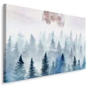 Schilderij - Volle maan boven mistige boomtoppen, grijs, 4 maten, wanddecoratie