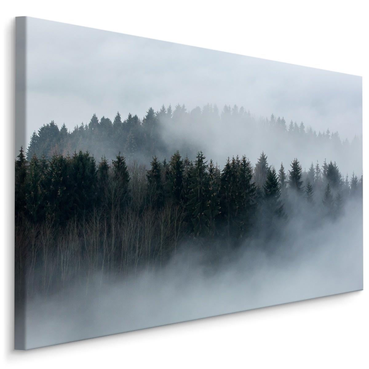 Schilderij - Mistig bos, grijs, 4 maten, wanddecoratie