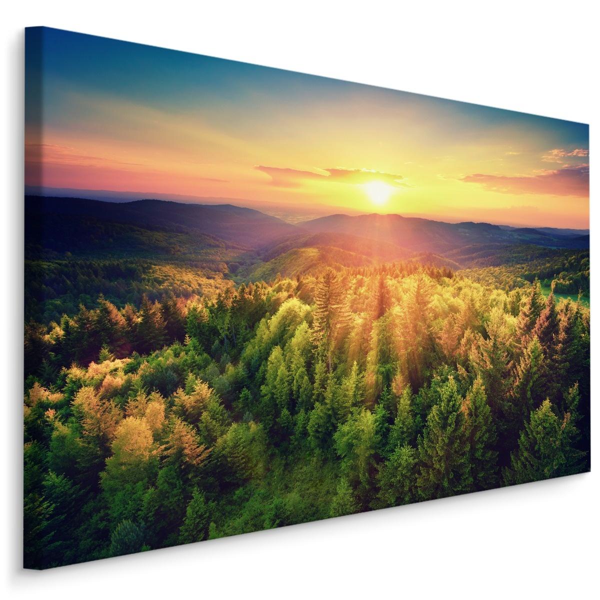 Schilderij - Zonsondergang in de bergen, multi-gekleurd, 4 maten, wanddecoratie