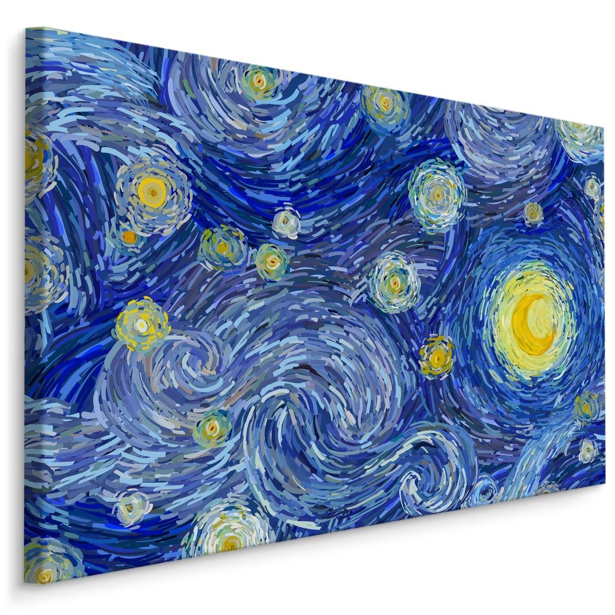 Schilderij - Sterrennacht in de style van Vincent van Gogh, blauw/geel, 4 maten, print op canvas