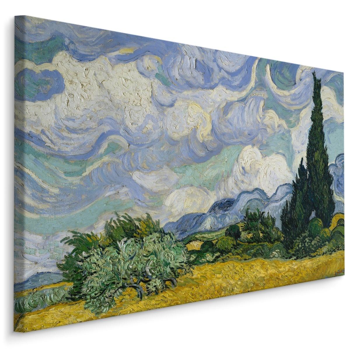 Schilderij - Vincent Van Gogh Korenveld met Cipressen, blauw/groen, 4 maten, reproductie