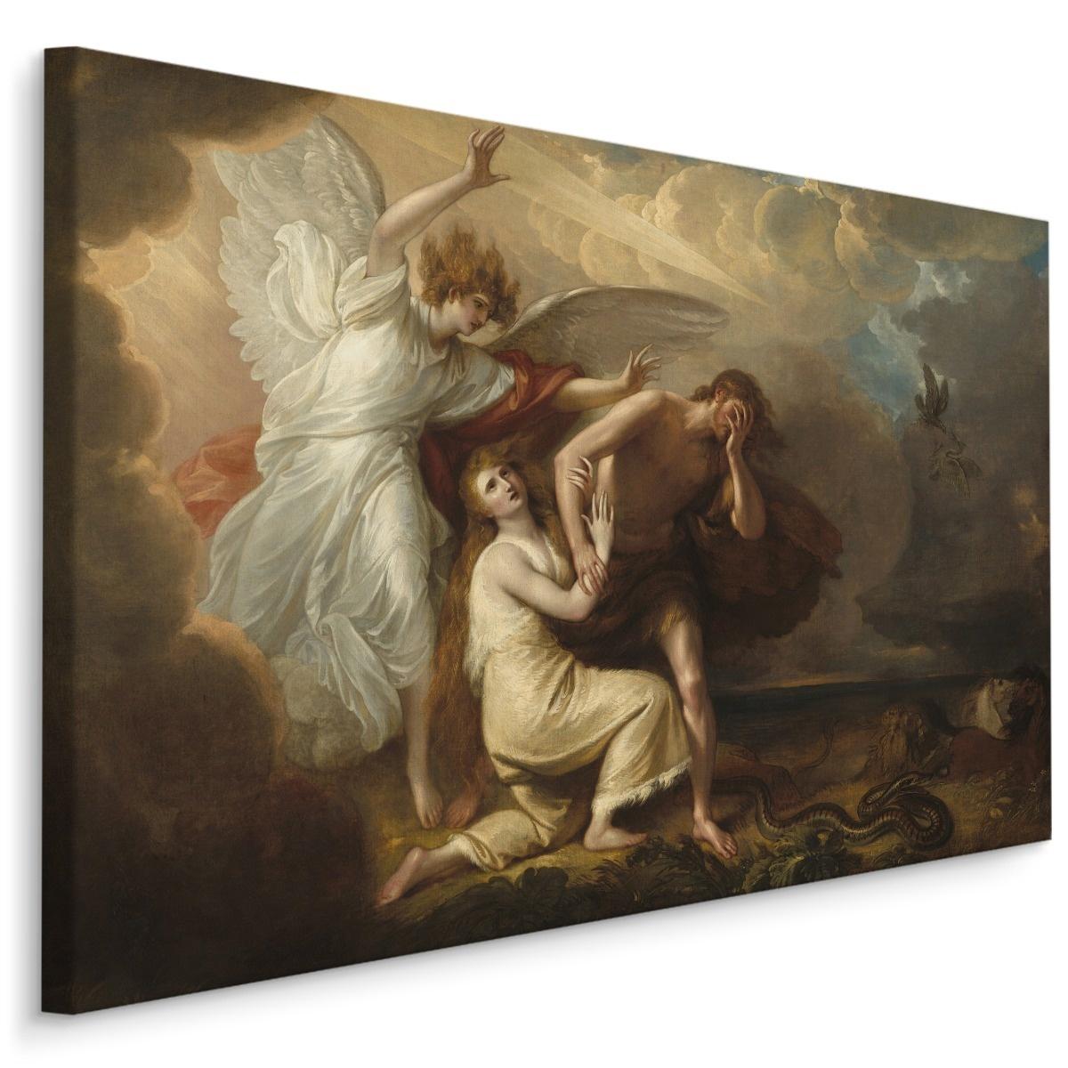 Schilderij - Benjamin West , De verbanning van Adam en Eva, multi-gekleurd, 4 maten, Reproductie