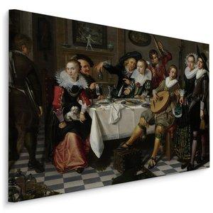 Schilderij - Isack Elyas Feestvierend gezelschap (print op canvas), multi-gekleurd, 4 maten, reproductie
