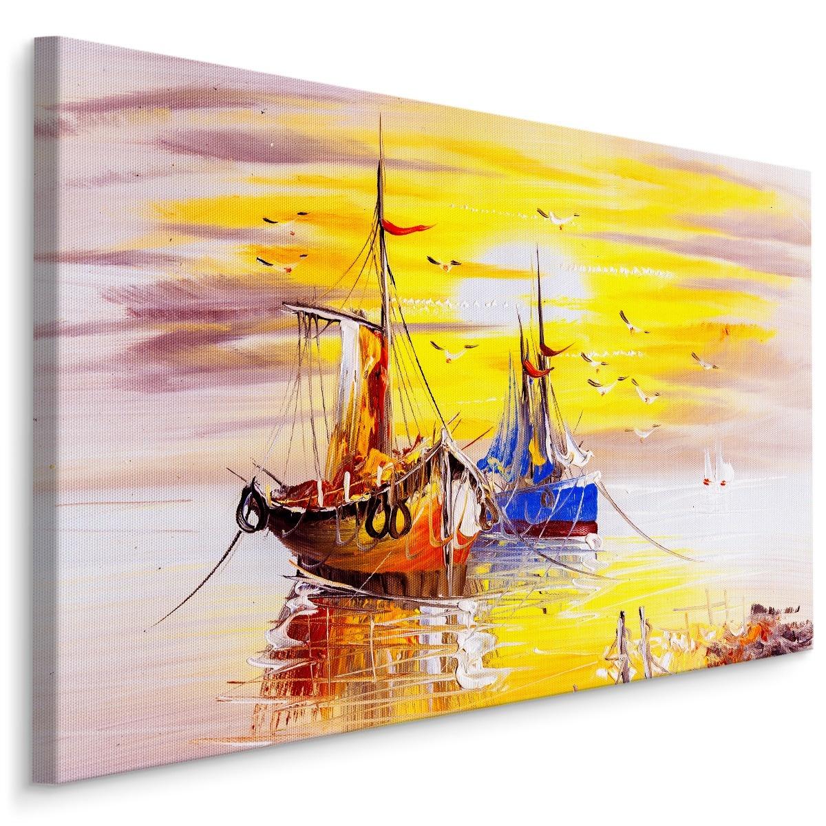 Schilderij - Schepen bij zonsondergang, 4 maten, multi-gekleurd, premium print