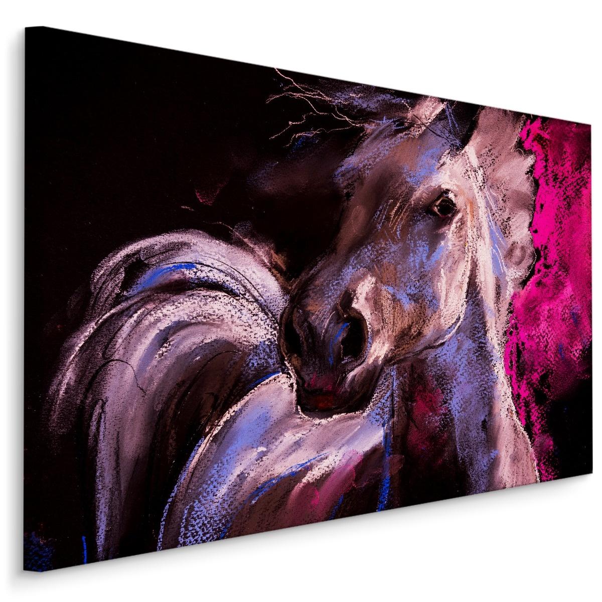 Schilderij - Paard in Pastelkleuren (print op canvas), 4 maten , wanddecoratie
