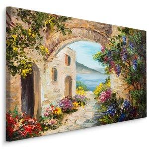 Schilderij Pittoresk huis aan zee (print op canvas), multi-gekleurd, 4 maten, premium print