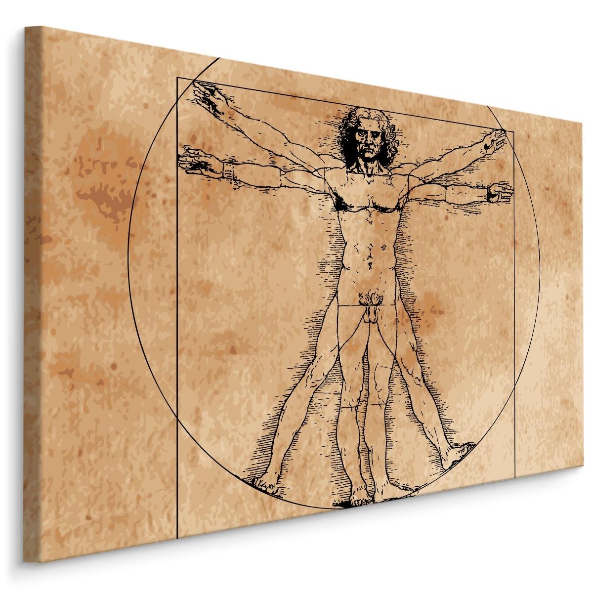 Schilderij - Vitruviusman, Leonardo da Vinci (print op canvas), beige, 4 maten, wanddecoratie