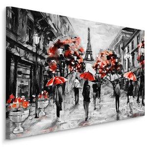 Schilderij - Regen in Parijs, zwart-wit/rood, 4 maten, premium print
