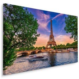 Schilderij - Seine en Eiffeltoren, Parijs, 4 maten, multi-gekleurd, wanddecoratie