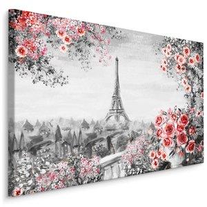 Schilderij - Prachtig uitzicht op de Eiffeltoren, Parijs II (Print op canvas), zwart-wit/roze, 4 maten