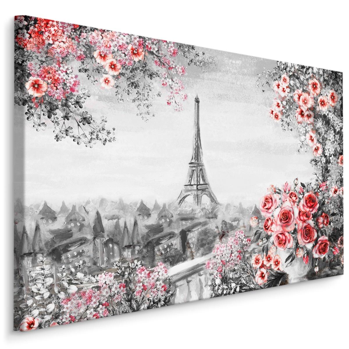Schilderij - Prachtig uitzicht op de Eiffeltoren, Parijs II (Print op canvas), zwart-wit/roze, 4 mat