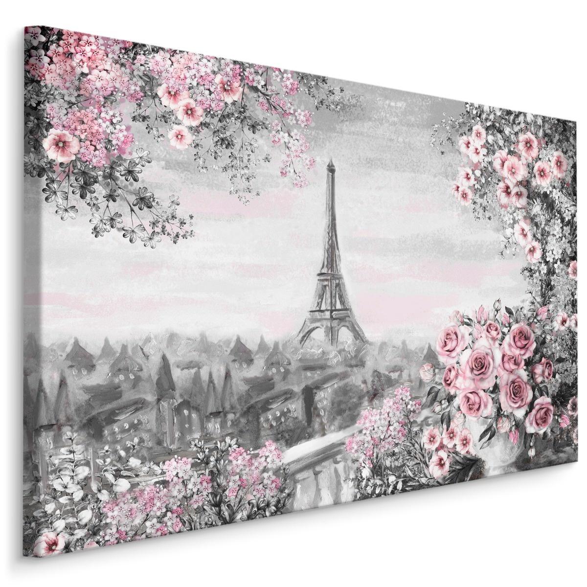 Schilderij - Prachtig uitzicht op de Eiffeltoren, Parijs (Print op canvas), zwart-wit/roze, 4 maten