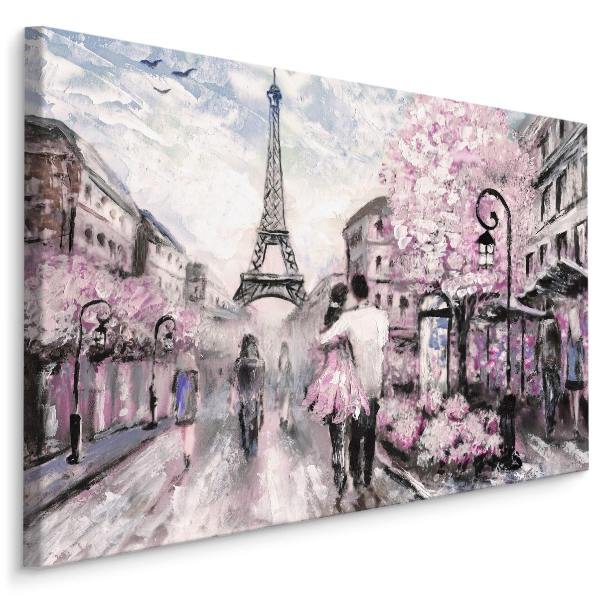 Schilderij - Geliefden in de straten van Parijs (print op canvas), 4 maten, multi-gekleurd, wanddeco