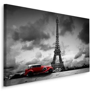 Schilderij - Oldtimer   voor de Eiffeltoren in Parijs, zwart-wit/rood, 4 maten, premium print