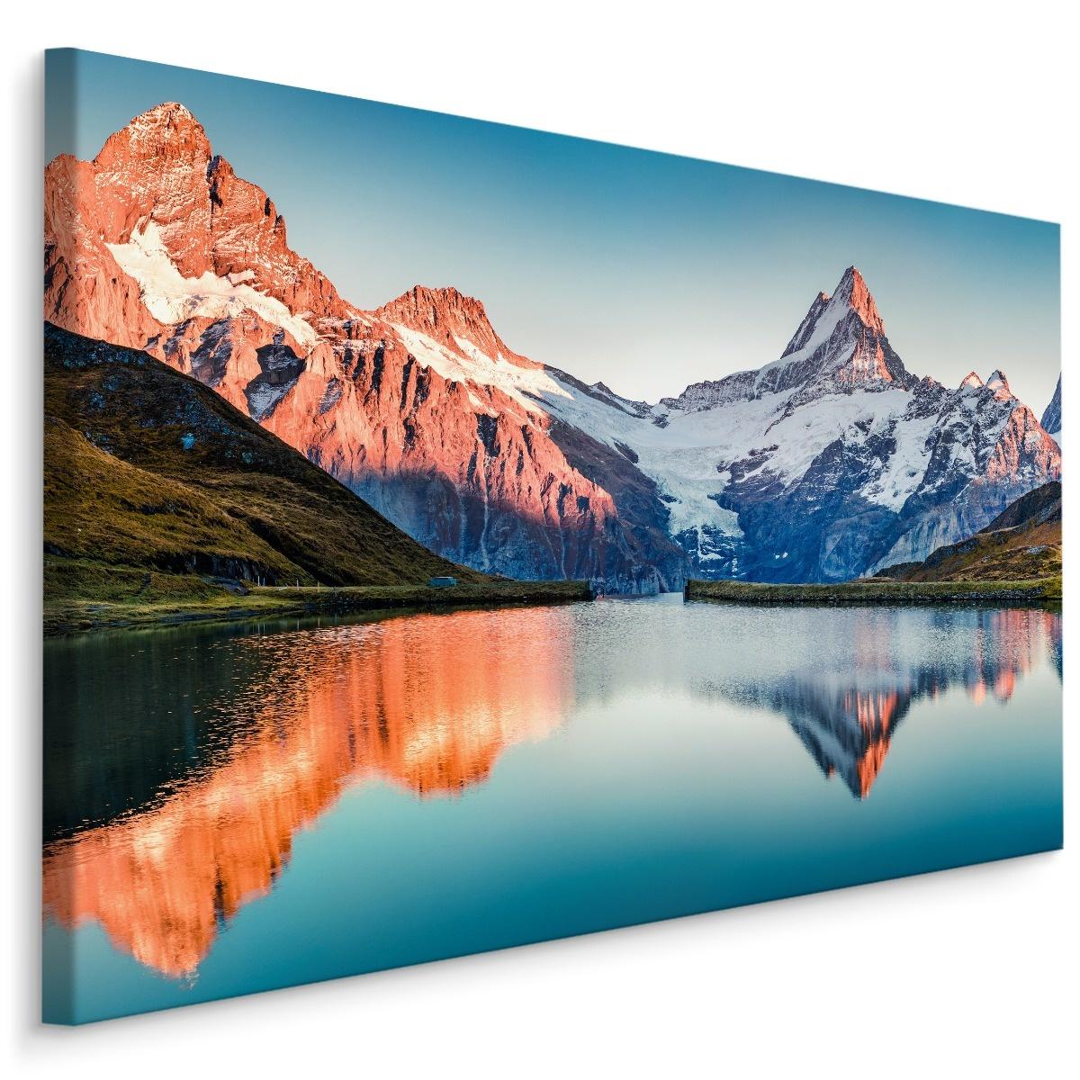 Schilderij Natuurmeer, Alpen Zwitserland, multi-gekleurd, 4 maten, wanddecoratie
