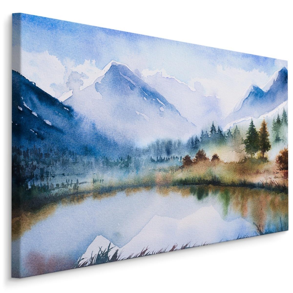 Schilderij - Berglandschap en meer (print op canvas), 4 maten, multi-gekleurd, premium print