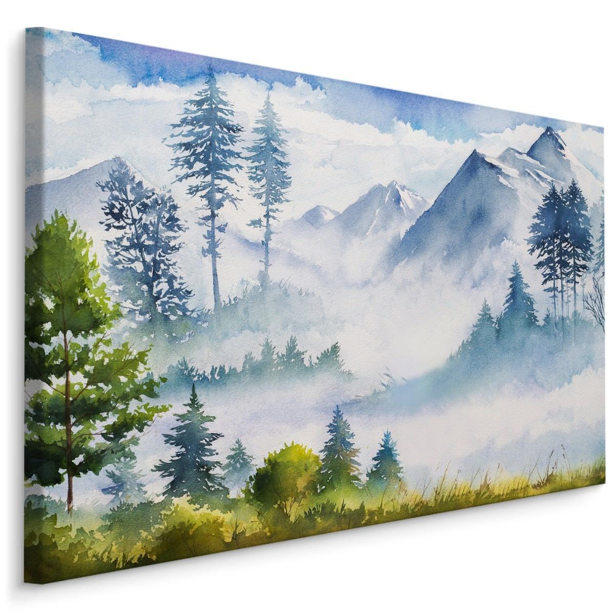 Schilderij - Berglandschap (print op canvas), 4 maten, multi-gekleurd, wanddecoratie