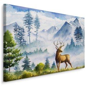 Schilderij - Berglandschap met hert (print op canvas), 4 maten, multi-gekleurd, wanddecoratie