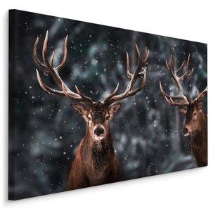 Schilderij - 2 herten in de sneeuw, 4 maten, bruin/grijs, premium print