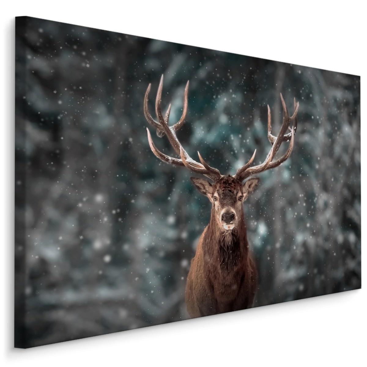 Schilderij - Hert in de sneeuw, 4 maten, bruin/grijs, premium print