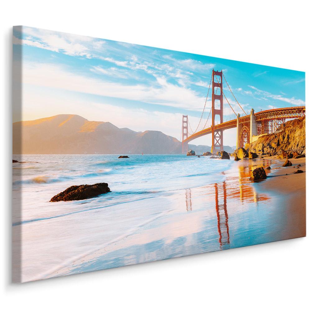 Schilderij - Golden Gate Bridge, San Fransisco, 4 maten, multi-gekleurd, wanddecoratie