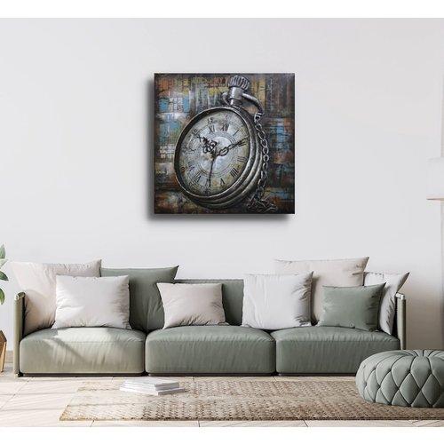 Schilderij - Metaalschilderij - Zakhorloge in de moderne tijd, 80x80 cm, 3D schilderij