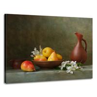 Karo-art Schilderij -Stilleven met  Perzik en Pruim. 100x70cm. Wanddecoratie, premium print