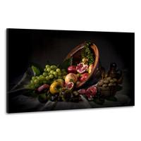 Karo-art Schilderij -Stilleven Omgevallen Fruitschaal, 100x70cm. Wanddecoratie, premium print