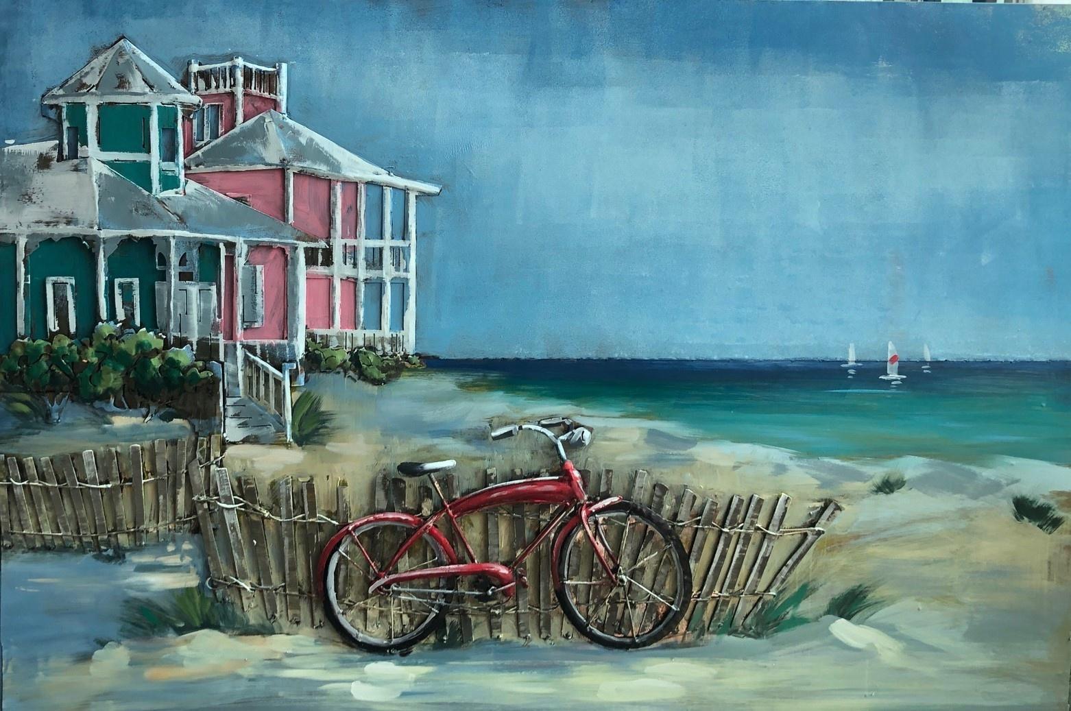 Schilderij - Metaalschilderij - Met de fiets naar het strand, 120x80cm, 3D art