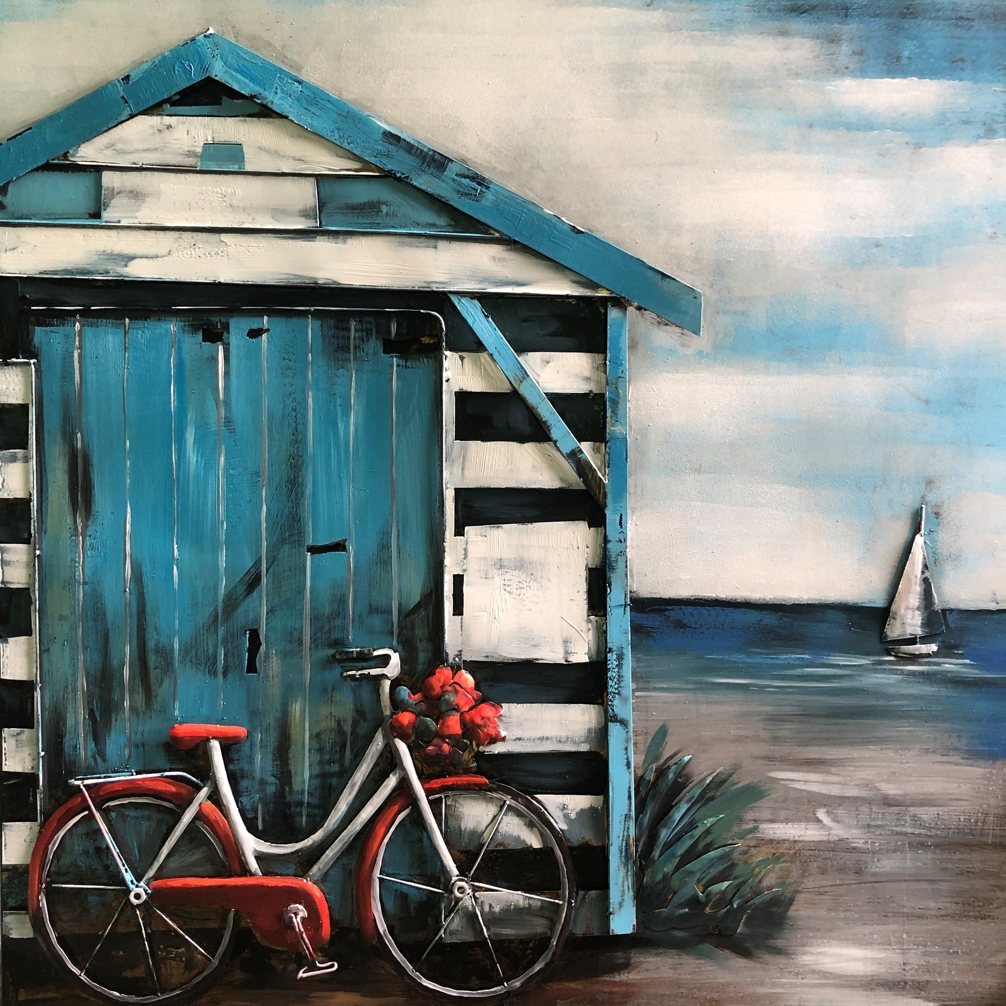 Schilderij - Metaalschilderij - Een dag naar het strand, 100x100cm, 3D art, echte eyecatcher