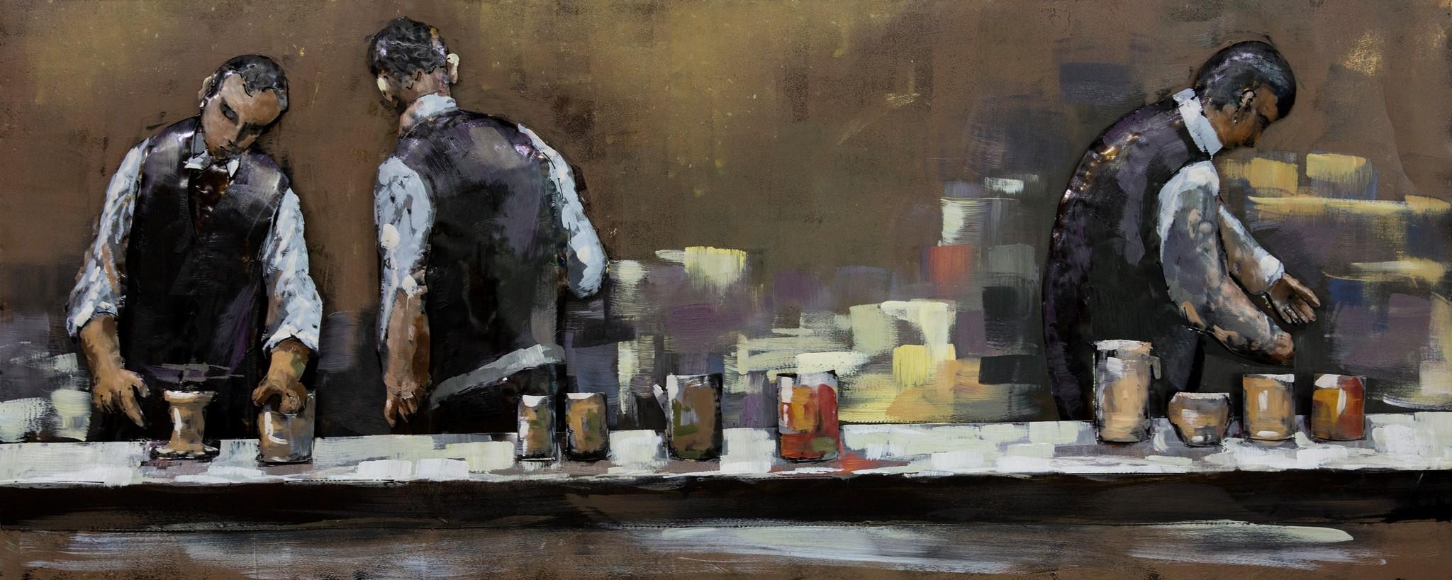 Schilderij - Metaalschilderij - In het Café, achter de bar, 60x150cm, 3D art