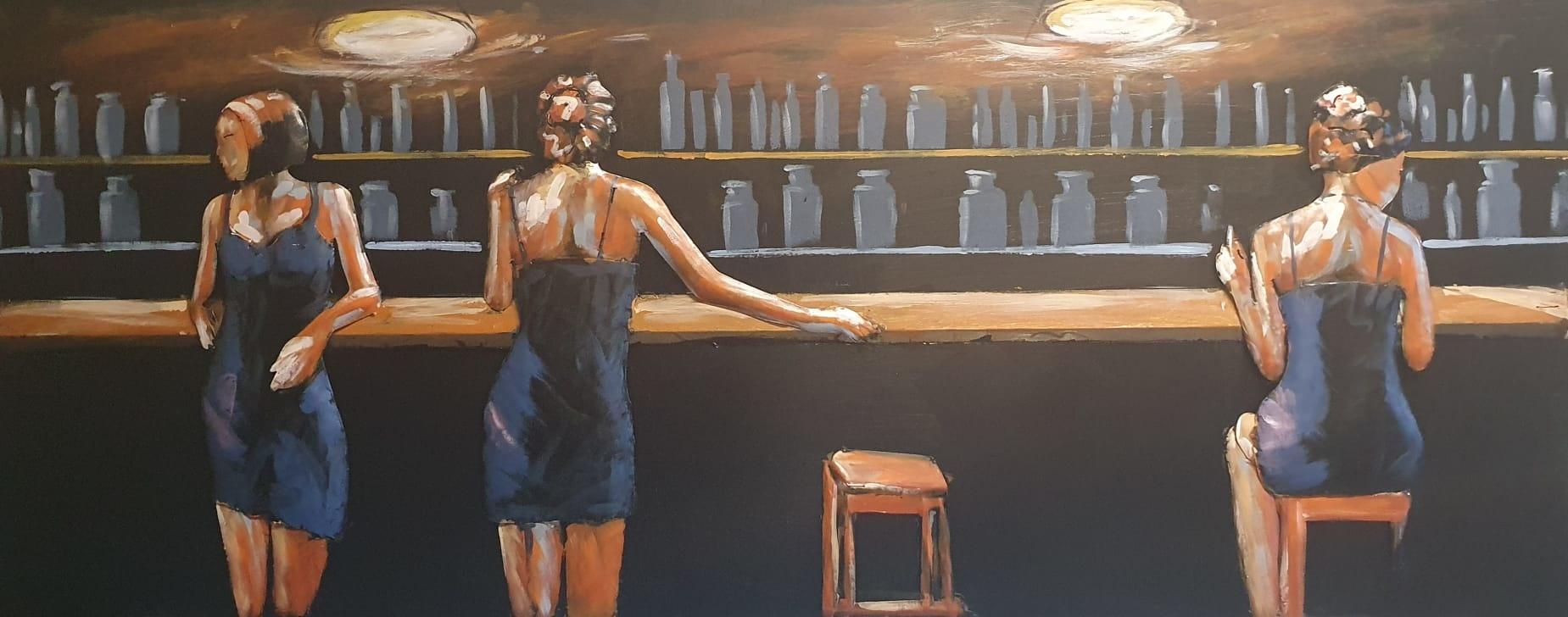 Schilderij - Metaalschilderij - In het Café, voor de bar, 60x150cm, 3D art