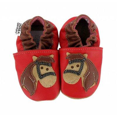 Hobea babyslofjes rood met paard