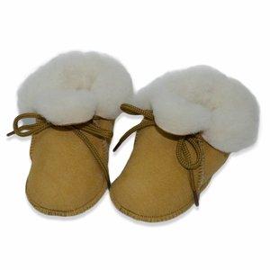 Baby Dutch wollige winterslofjes okergeel