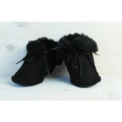 Baby Dutch wollige winterslofjes zwart