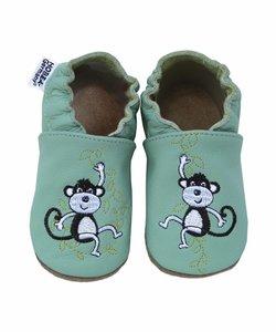 Babyslofje mintgroen met aapjes