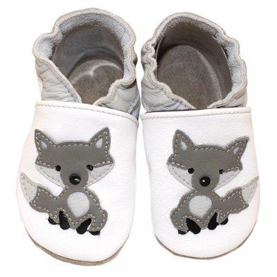 Hobea Babyslofjes wit met wolf