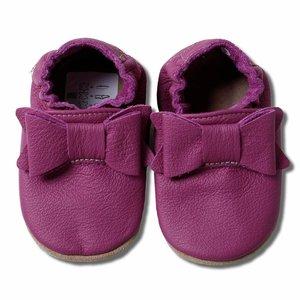 Hobea Babyslofjes paars met strik