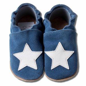 Hobea Babyslofjes suede blauw met witte ster