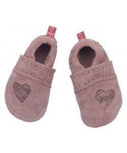 babyslofje glitterhart suede roze