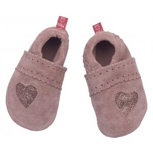 Anna und Paul babyslofje glitterhart suede roze