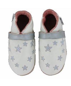 babyslofjes wit met zilveren sterren